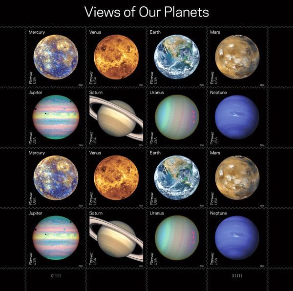 New U.S. Postal Service stamps featuring the eight official planets of our solar system.