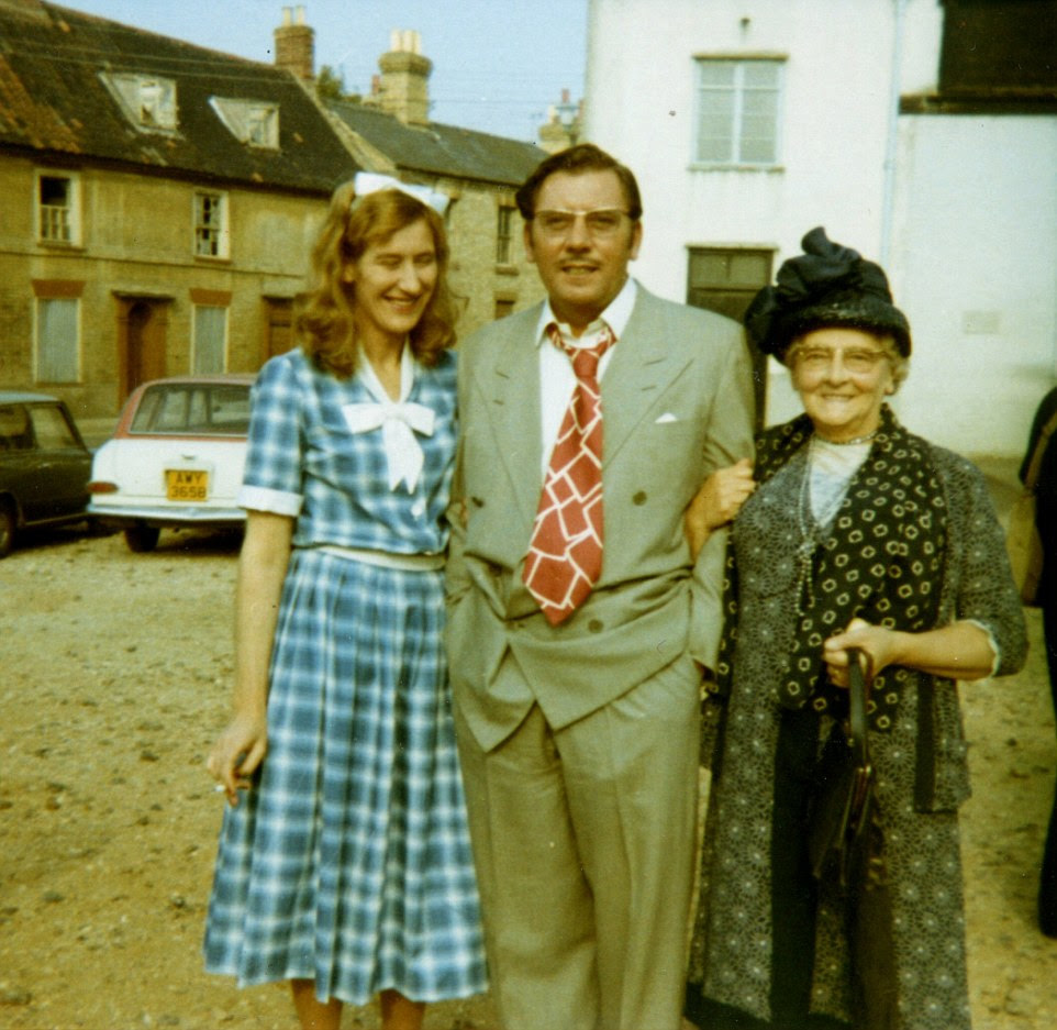 James Beck poses with extras from the Thetford Am Dram Society. Keith Eldred, the leader of the society, was often called on to provide extras for scenes and recalls that his actors were usually paid £10 per day