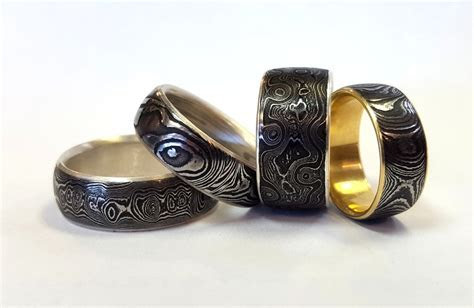 Damascus Steel wedding bands locally made in Portland, OR