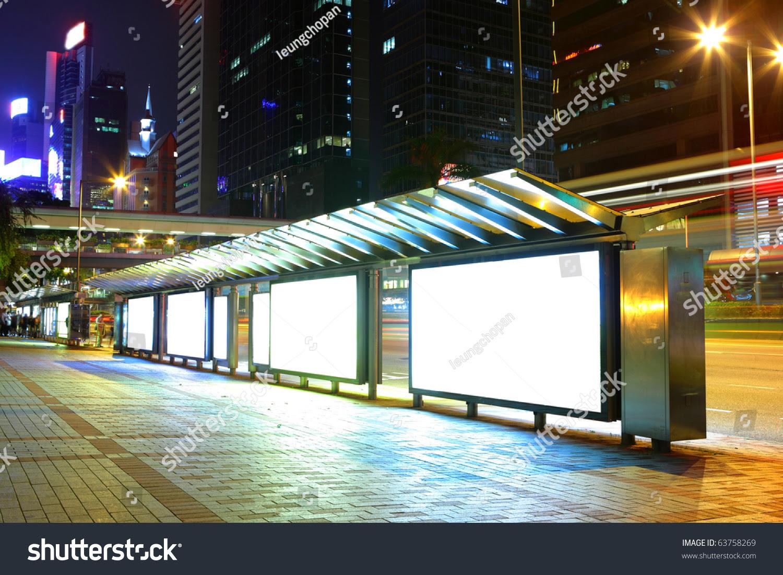 Blank Billboard On Bus Stop Night Stock Photo 63758269 - Shutterstock