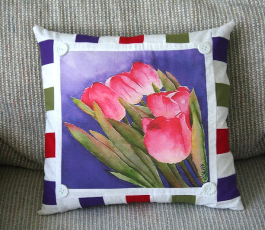 Tulip Watercolor Fabric Panel