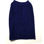 Midlee Cable Knit Dog Sweater (Medium, Navy)