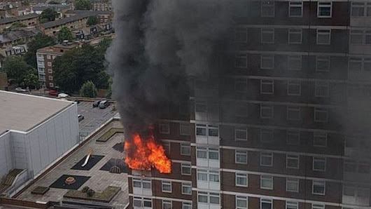 Fifty people leave flats after Shepherd's Bush tower block fire - BBC News
