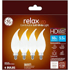 GE Lighting 240217 Candle Shape Light Color Bulb, Soft White, 5.5 W - 4 pack