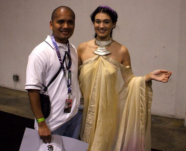 Posing with a fan dressed as Padmé Amidala from ATTACK OF THE CLONES at the Star Wars Celebration in Anaheim, California...on April 16, 2015.