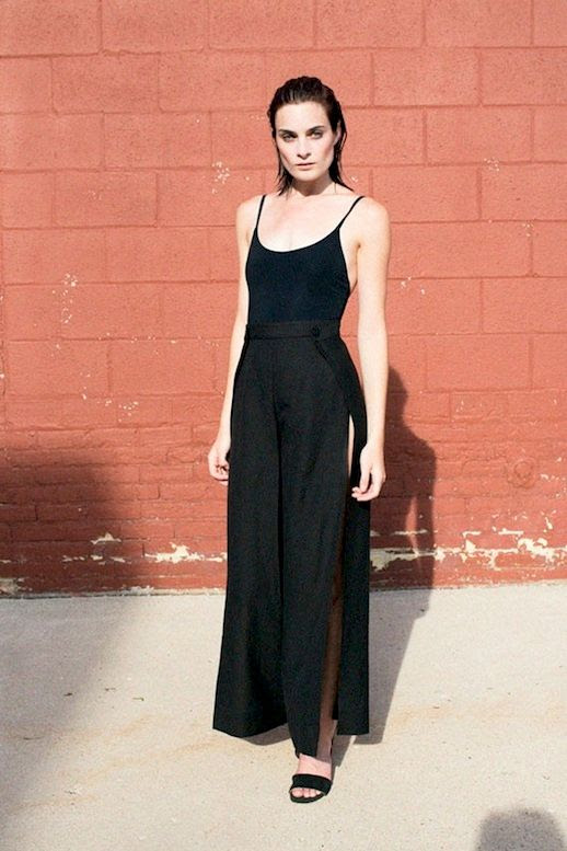 Le Fashion Blog Summer Style Black Tank Top Side Slit Wide Leg Pants Sandals Via Bonadrag