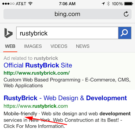 Bing Now Showing Mobile Friendly Label In Mobile Results