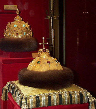 "Two oldest Russian crowns - ""Cap of Monomakh"" and Kazan Crown."
