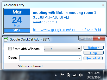Google Calendar Quick Add Utility for Windows