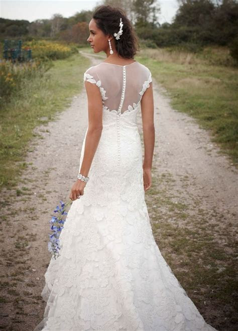 Fit to Flare Wedding Gown with Illusion Neckline   David's