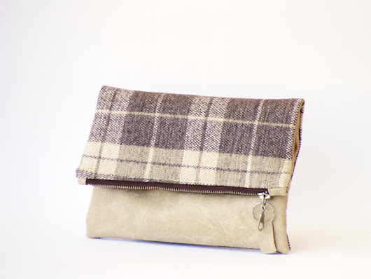 Plaid canvas and leather foldover clutch vegan cream by Razolly