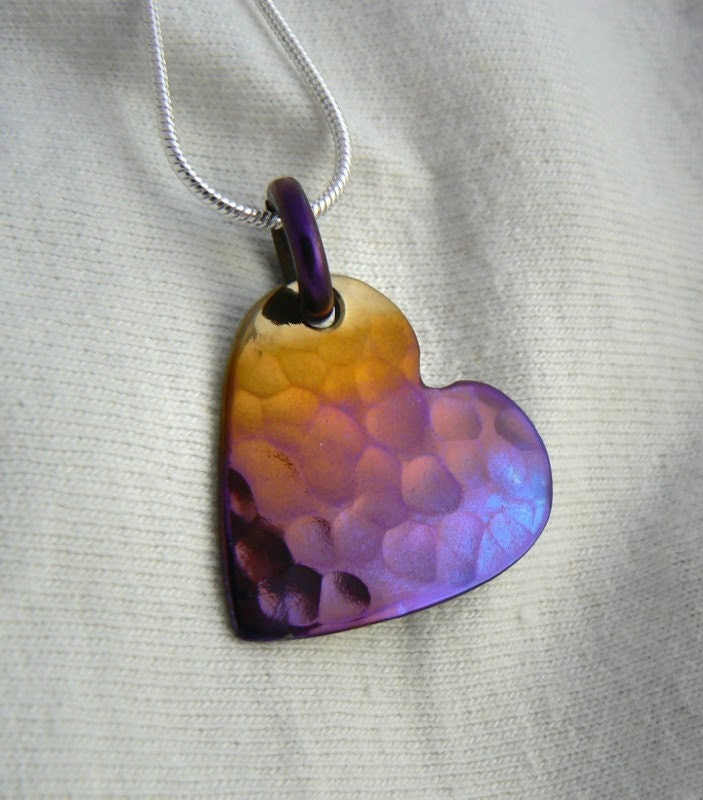 Pendant,Titanium, Hammered Heart  in Purple and Gold