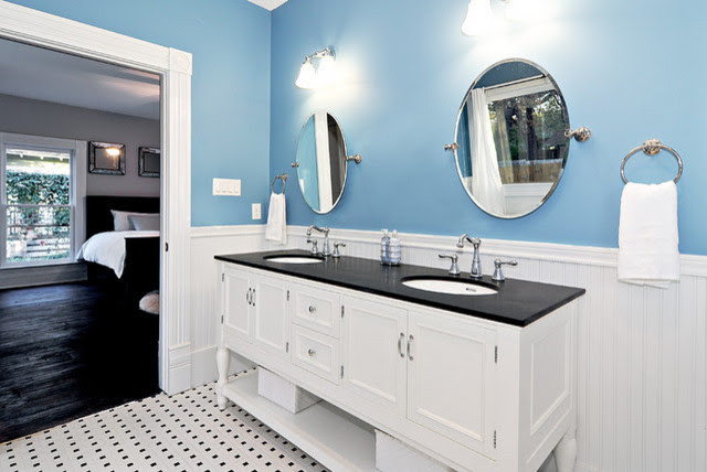 Blue and White Master Bath