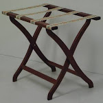 Wooden Mallet LR3-MHTAP Designer Curve Leg Luggage Rack in Mahogany with Tapestry Webbing - 3.75 in.