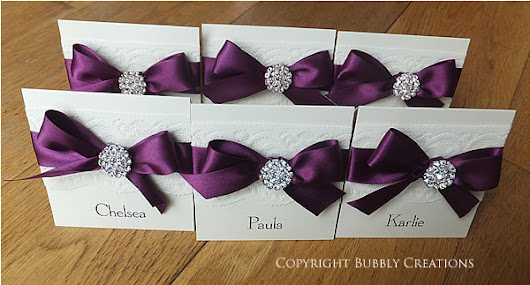 Glamour Wedding Invitations and Stationery - Lace and Sparkly Diamante Embellishment in Dark Purple, Aubergine