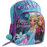 "Disney Girls Frozen Elsa Anna 16"" Sequins Backpack with Pom-Pom Keychain Aqua"