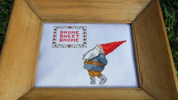 Gnome Sweet Gnome cross stitch art