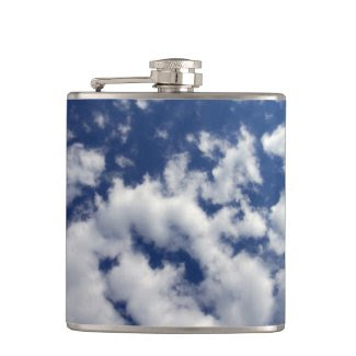 Puffy Clouds On Blue Sky Hip Flasks
