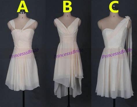 Short Light Champagne Chiffon Bridesmaid Dresses,three