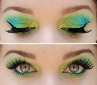 Maquiagem verde, amarela e azul