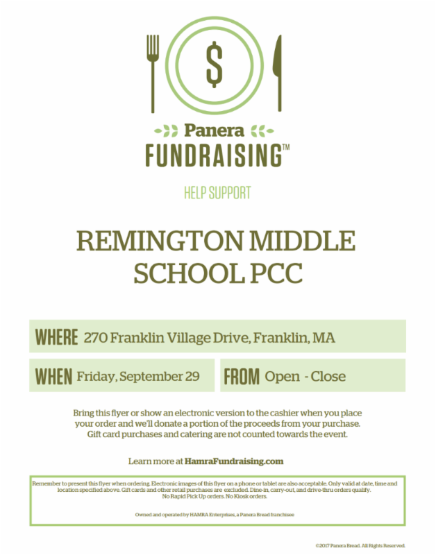 Bring your family to Panera Bread and support Remington - Sep 29
