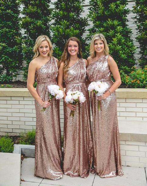 one shoulder Sequin bridesmaid dresses, Gold bridesmaid dresses, Long bridesmaid dresses, cheap bridesmaid dresses, cheap bridesmaid dresses, 16386 from OkBridal