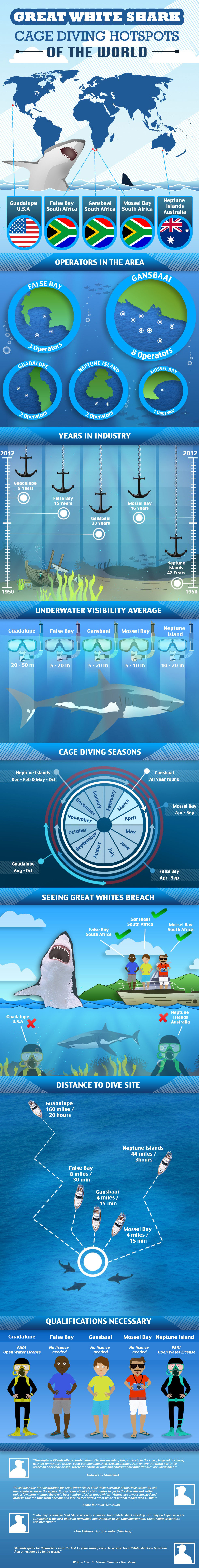 Great White Shark Cage Diving Hotspots of the World - Infographic