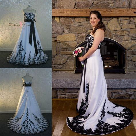 White And Back Victorian Gothic Wedding Dress Strapless