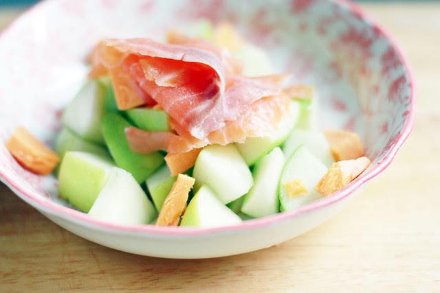 Green Apples, Cheddar, & Smoked Salmon Salad with Lemon Honey