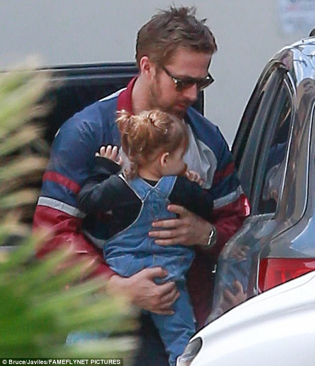 Family time: Eva and boyfriend Ryan Gosling enjoyed a lunch date with daughter Esmeralda Amada, aged one, in Los Angeles on Mother's Day