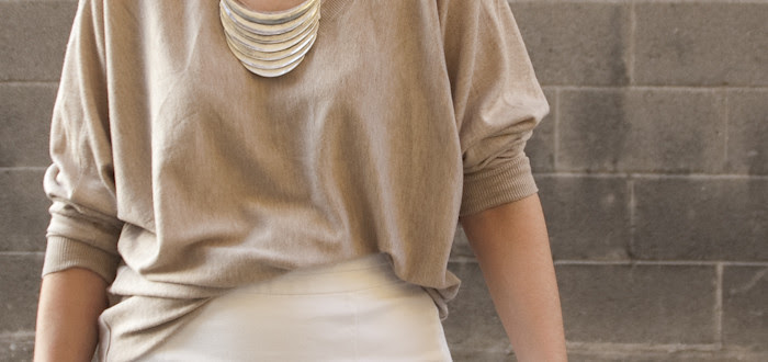 sweater and skirt, tan and white, outfits