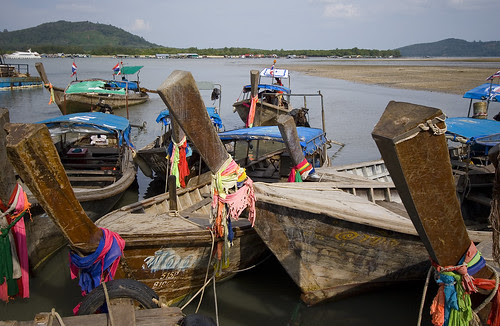Longtail boats at Laem Hin