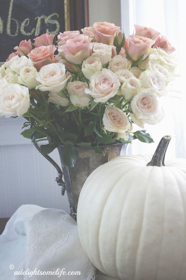 Pink Roses White Pumpkins 5