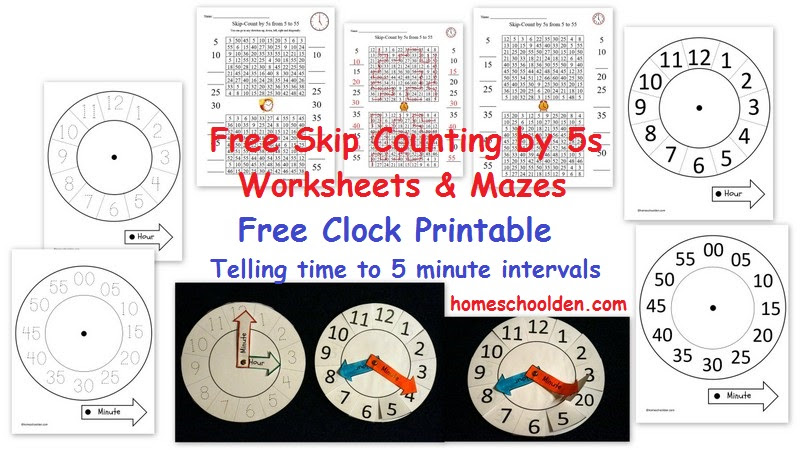Skip Counting by 5s Free Clock Printable 5 minute interval
