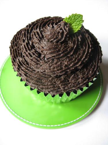Dark Chocolate Grasshopper Cupcake