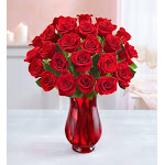 Flower Delivery by 1-800 Flowers Two Dozen Red Roses with Red Vase