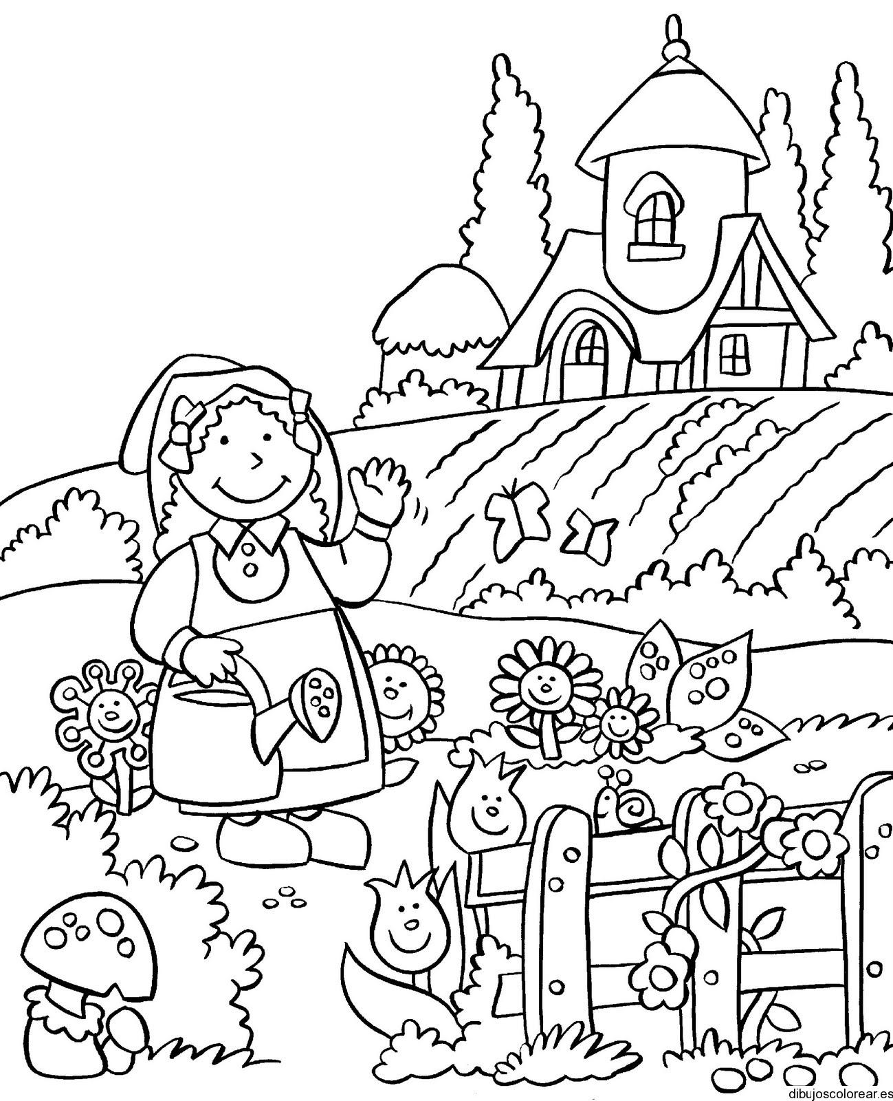 Dibujo De Una Pequeña Granjera En Su Casa