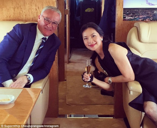Toasting success: Leicester City manager Claudio Ranieri is pictured on Instagram in a Gulfstream G650 private jet along with Foxes executive director Supornthip Choungrangsee yesterday