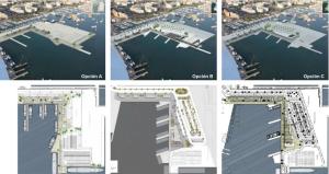 Imagen de las tres posibilidades para la futura estación de Formentera.