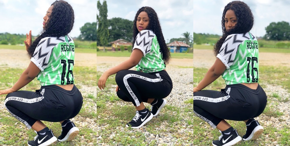 Regina Daniels Dazzles In Super Eagles Jersey (Photos)