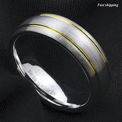 8/6Mm Tungsten Ring Brushed Silver Dome 18k Gold Wedding