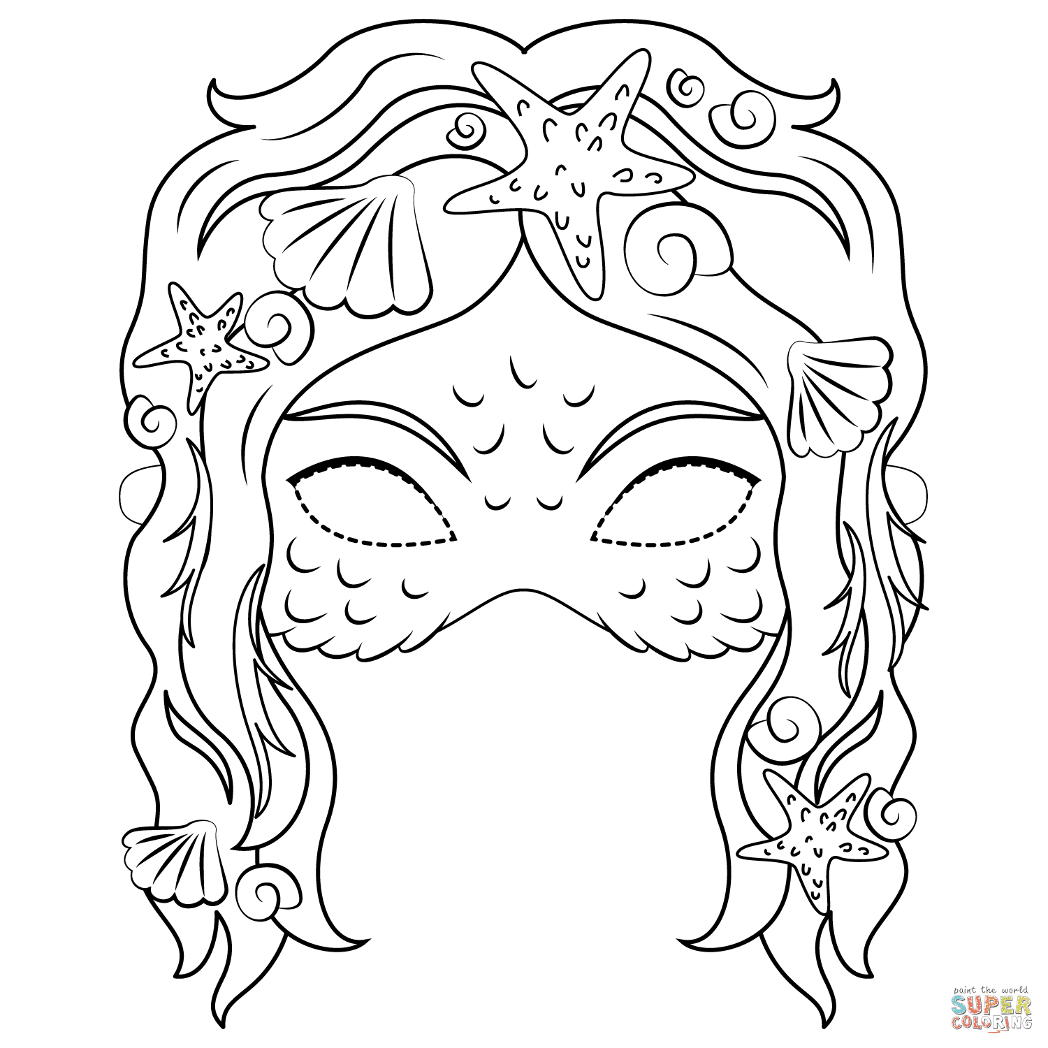 Mermaid Mask coloring page | Free Printable Coloring Pages