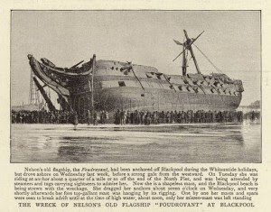 """TS (formerly HMS) """"Foudroyant"""" wrecked on the beach at Blackpool in June 1897."""