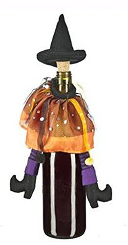 Orange & Purple Wicked Witch Halloween Wine Bottle Decoration and Cork by Ganz