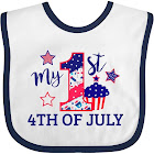 My 1st 4th of July with Stars and Cupcake Baby Bib, Blue