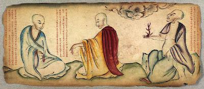 monks in Tibetan sketch album