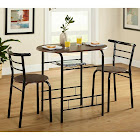 TMS Indoor Bistro Set 3 Piece Coffee Table Chairs Home Pub Kitchen Dining Furniture, Brown