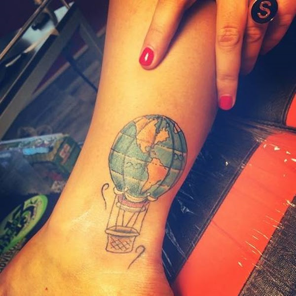 Earth Globe Hot Air Balloon Tattoo On Ankle