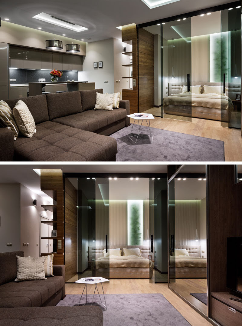 Glass Doors Define The Bedroom In This Small Apartment Contemporist