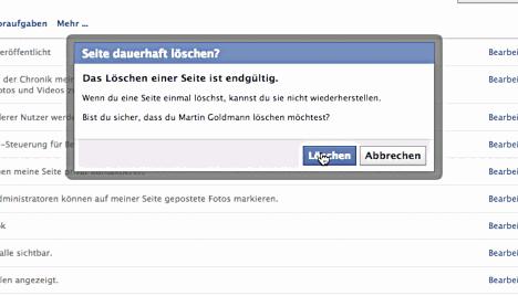 Facebook Erstellte Seite Löschen